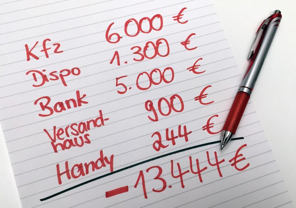 Finanzierung rote Zahlen Stift Papier