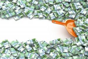 Umschuldung Geld schaufeln