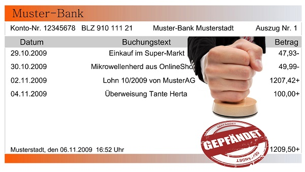 Kontoauszug Muster Bank Hand mit Stempel gepfändet
