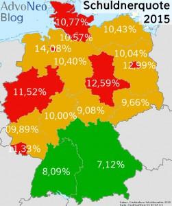 SchuldnerAtlas 2015 Schuldnerquote Bundesländer