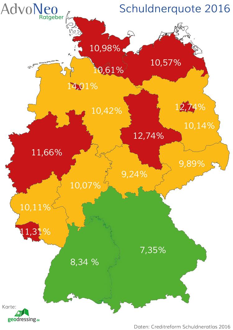 SchuldnerAtlas 2016 Schuldnerquote Bundesländer Karte
