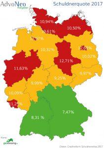 Schuldneratlas 2017 Schuldnerquote Bundesländer Creditreform