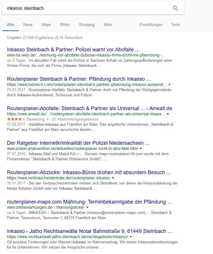 Google Suche Inkasso Steinbach Betrug