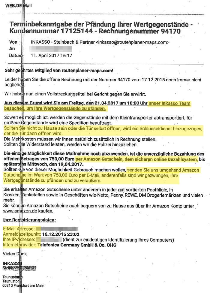 Inkasso Betrug E-Mail Markierung auffällige Stellen