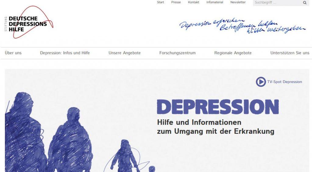Ausschnitt Webseite Stiftung Deutsche Depressionshilfe