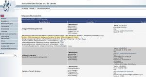 Vollstreckungsgericht finden Justizportal Orts-und Gerichtsverzeichnis Beispiel Hamburg
