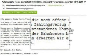 Mahnung E-Mail Fälschung Lupe betrachen