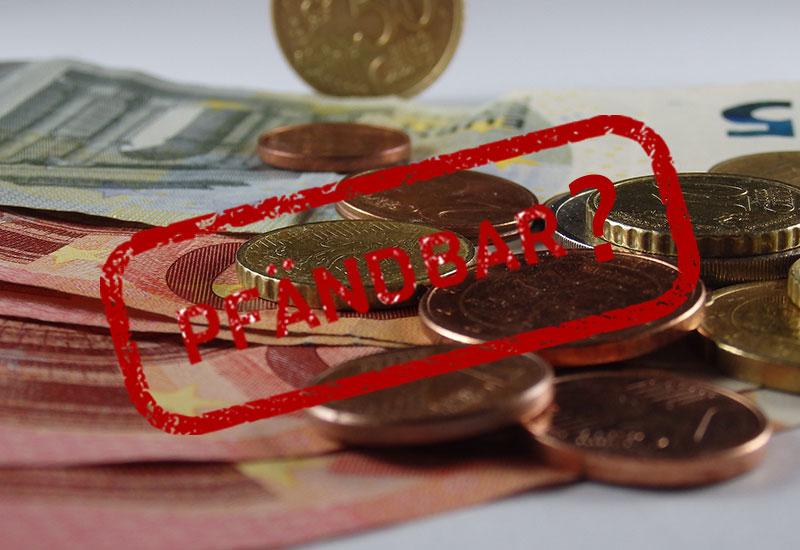 Geld pfaendbar Stempel Fragezeichen